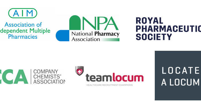AIM, CCA, NPA, RPS, Team Locum and Locate a Locum logos
